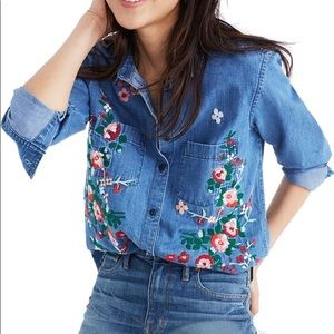Madewell embroidered denim top